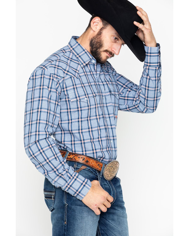 60da1c010 Roper Men s Indigo Blues Large Plaid Snap Long Sleeve Shirt