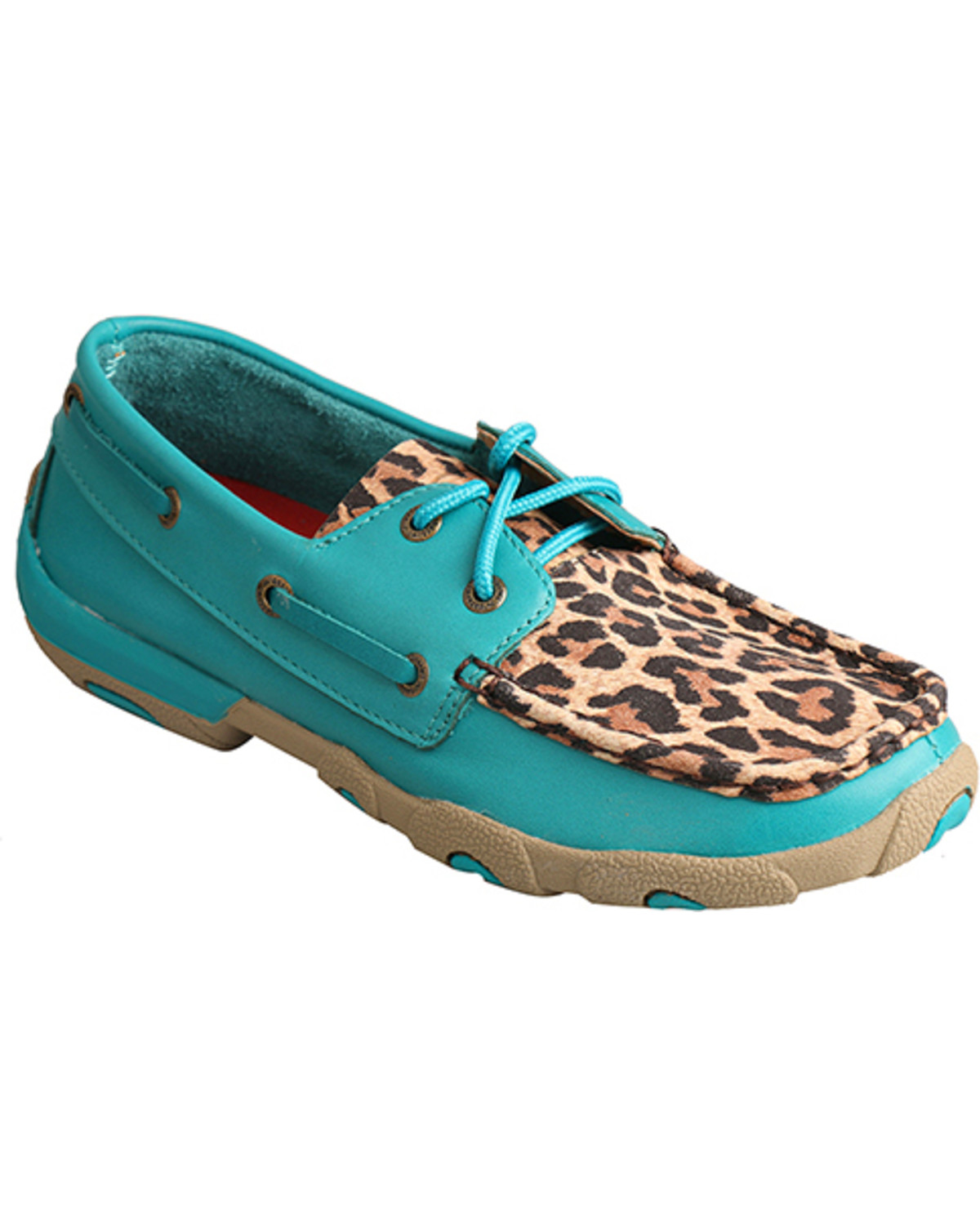 Turquoise/Leopard Driving Moccasins