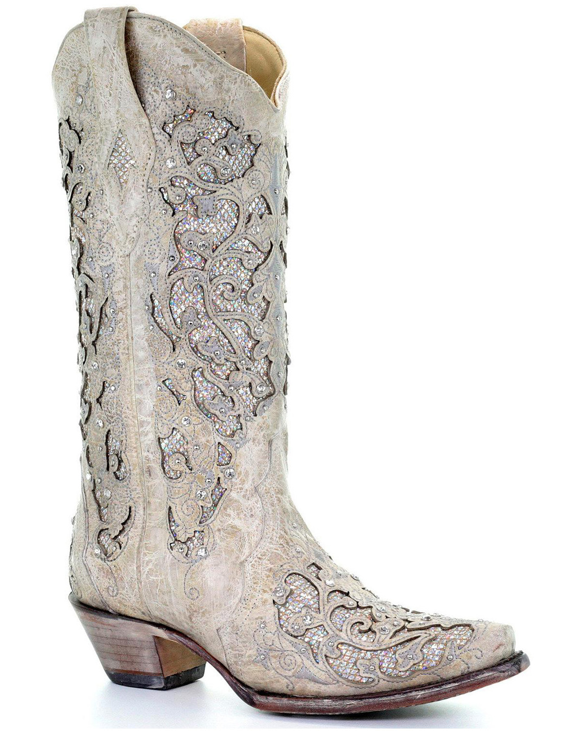 Wedding Cowgirl Boots: Corral Women's Glitter Inlay And Crystals Wedding Boots
