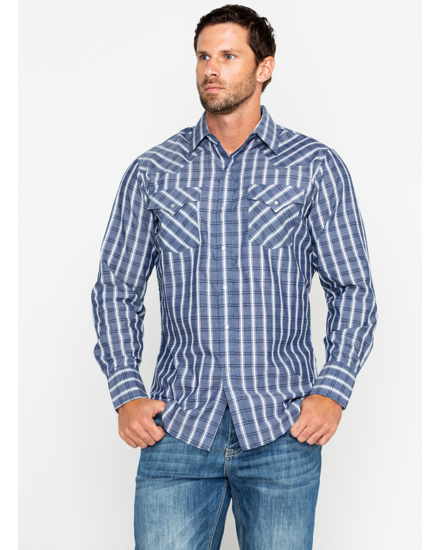 1bd13c1c104 Ely Cattleman Men s Textured Plaid Long Sleeve Western Shirt