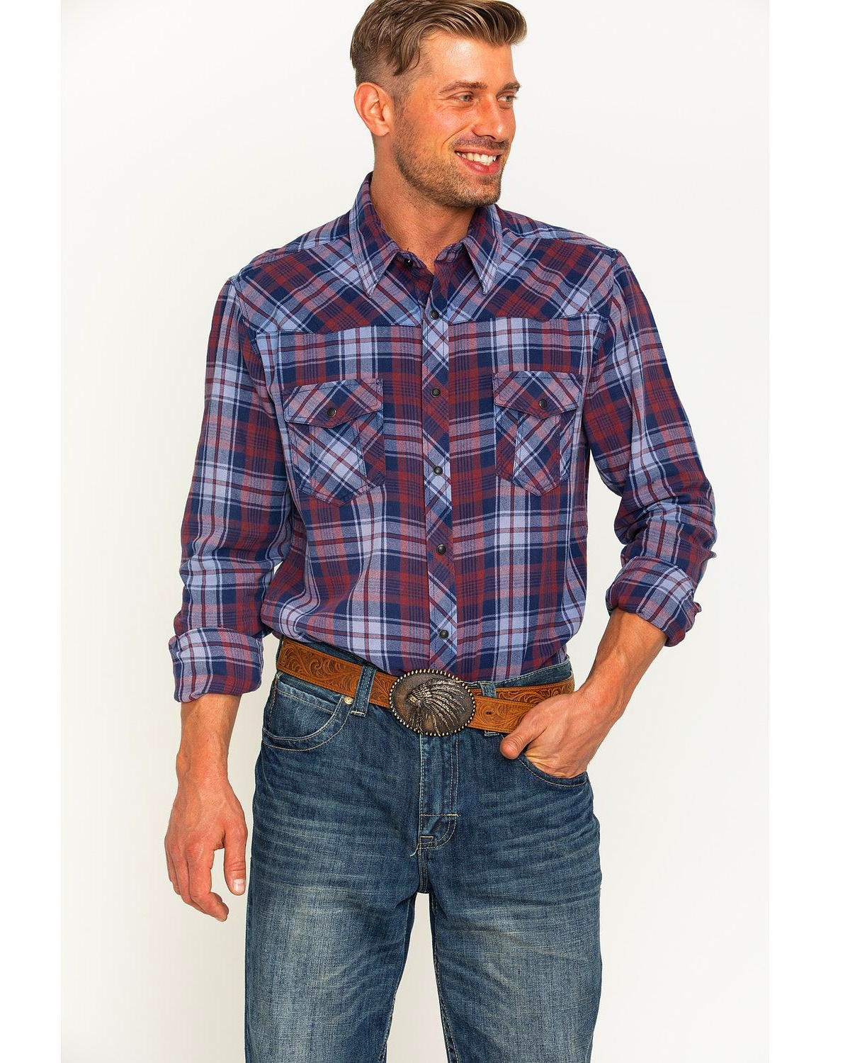 Rock roll cowboy men 39 s bleached wash flannel plaid snap for How to wash flannel shirts