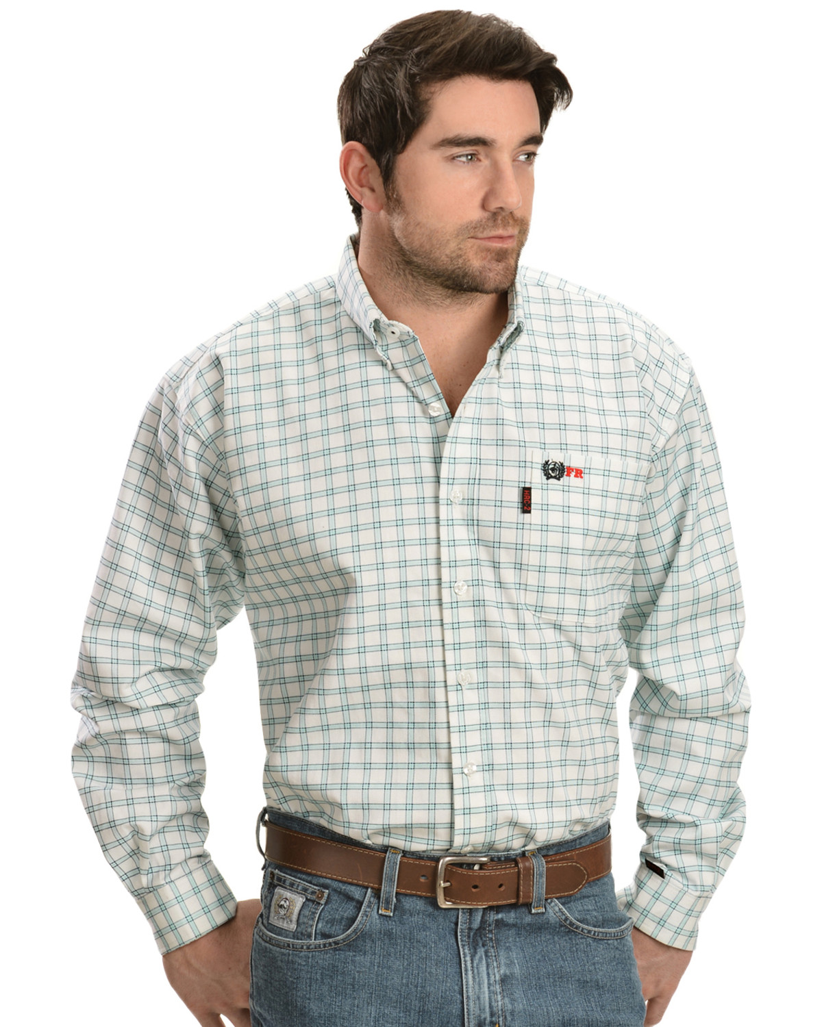 Cinch green and white plaid flame resistant work shirt for Cinch flame resistant shirts