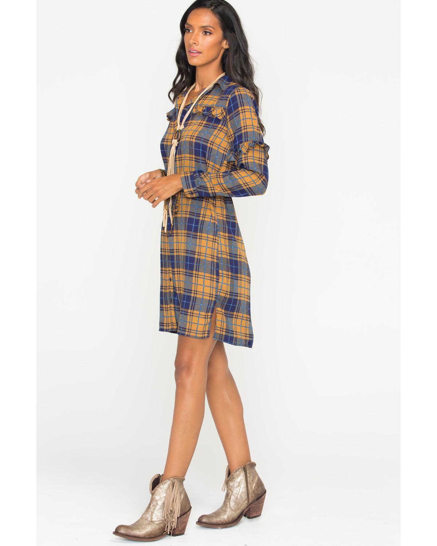 Wrangler Womens Plaid Ruffle Long Sleeve Shirt Dress Sheplers