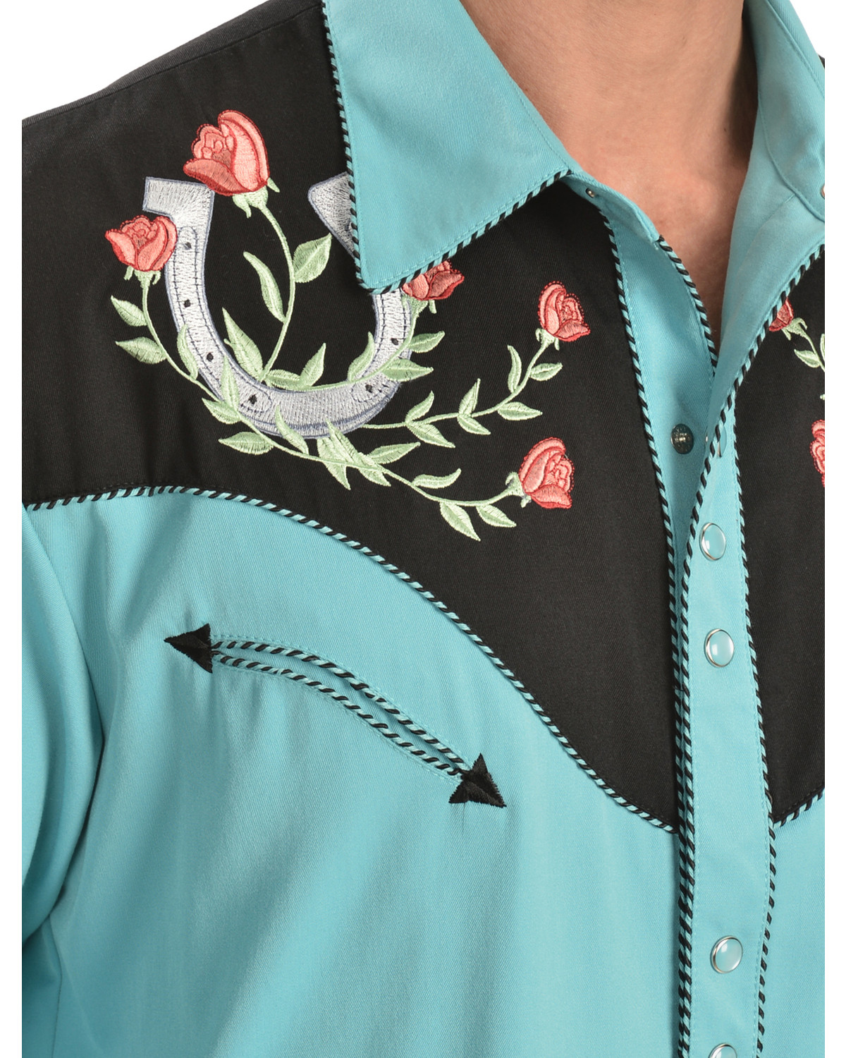 Scully Rose & Horseshoe Embroidered Retro Western Shirt | Sheplers