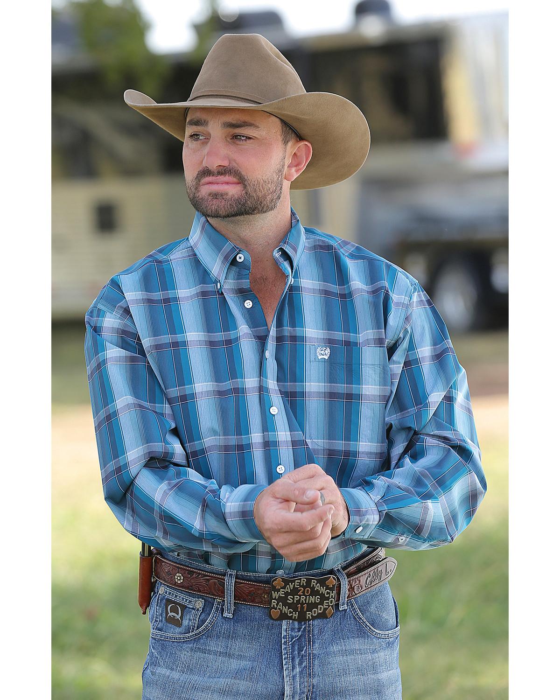 Cinch men 39 s teal plaid plain weave long sleeve button down for Mens teal button down shirt