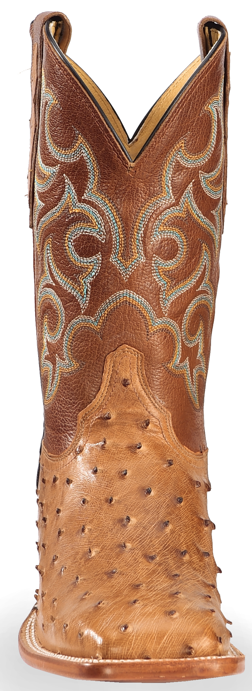 Justin Cognac Waxy Full Quill Ostrich Cowboy Boots Wide