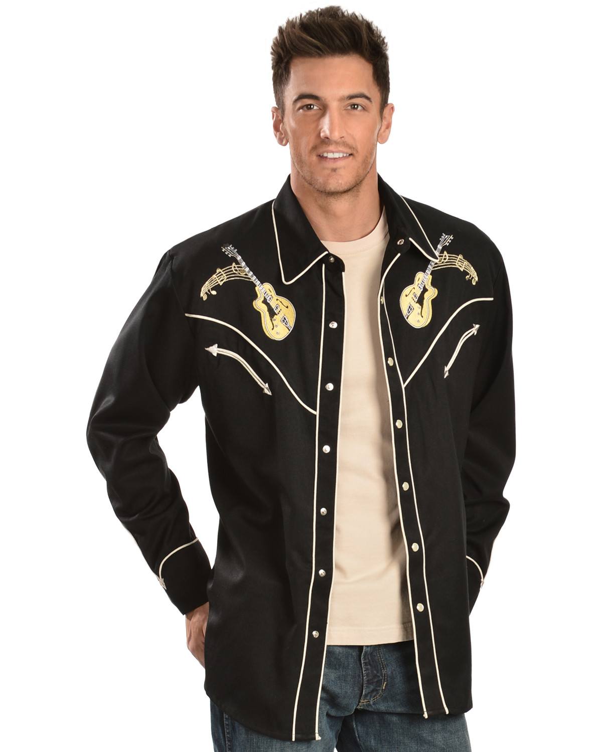 Scully Rock N Roll Embroidered Retro Western Shirt Sheplers