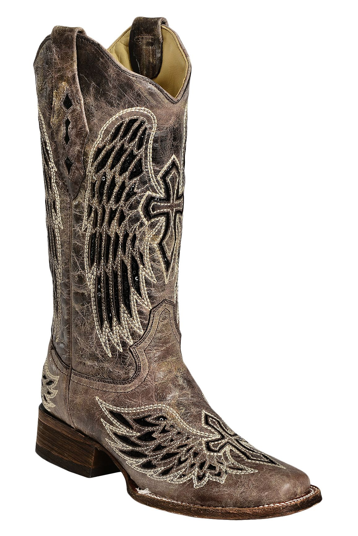 Corral Black Sequin Wing Amp Cross Inlay Cowgirl Boots