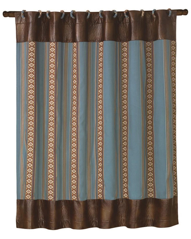 Hiend Accents Ruidoso Blue Striped Shower Curtain