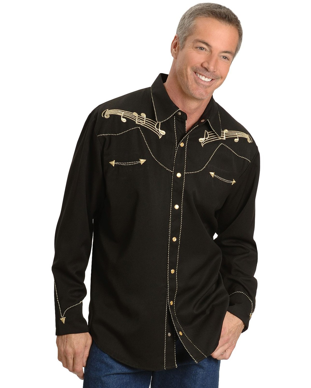 Scully Music Note Embroidered Retro Western Shirt Sheplers