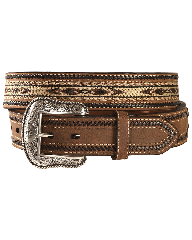 Nocona Aztec Horsehair Inlay Leather Belt  5eb9e75036c2