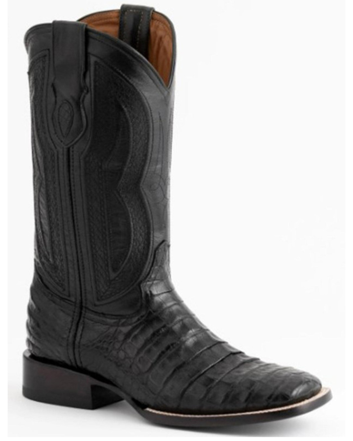 Ferrini Black Caiman Belly Cowboy Boots Wide Square Toe