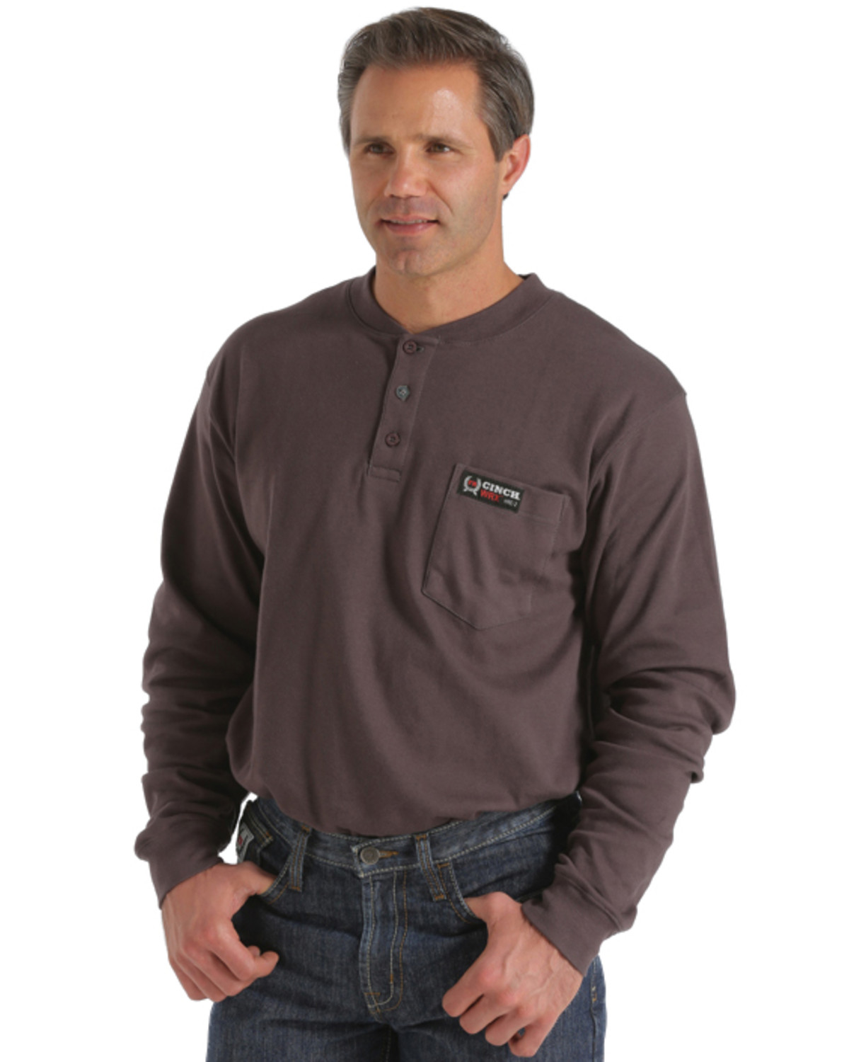 Cinch wrx flame resistant long sleeve henley shirt sheplers for Cinch flame resistant shirts