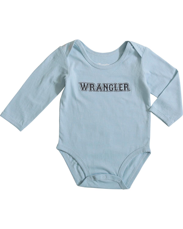 Wrangler Infant Boys\' Blue Western Logo Onesie   Sheplers
