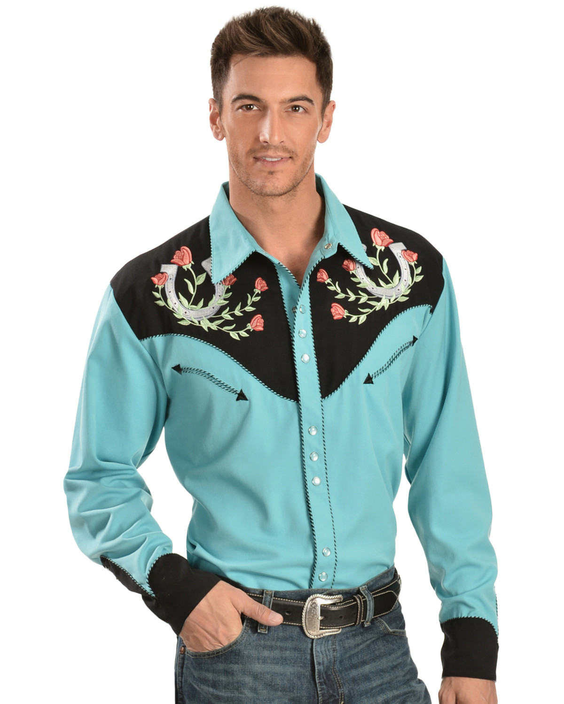 Scully Rose Amp Horseshoe Embroidered Retro Western Shirt