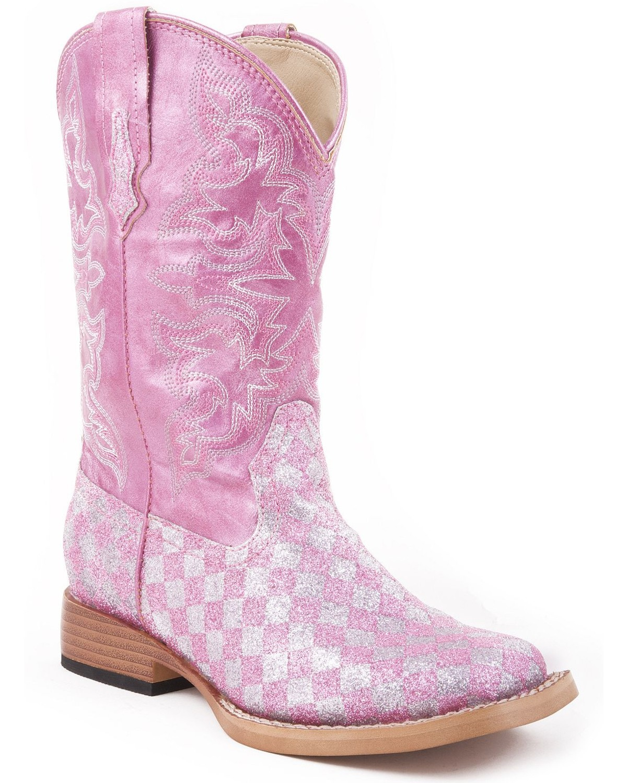 Roper Girls' Pink Glitter Checker