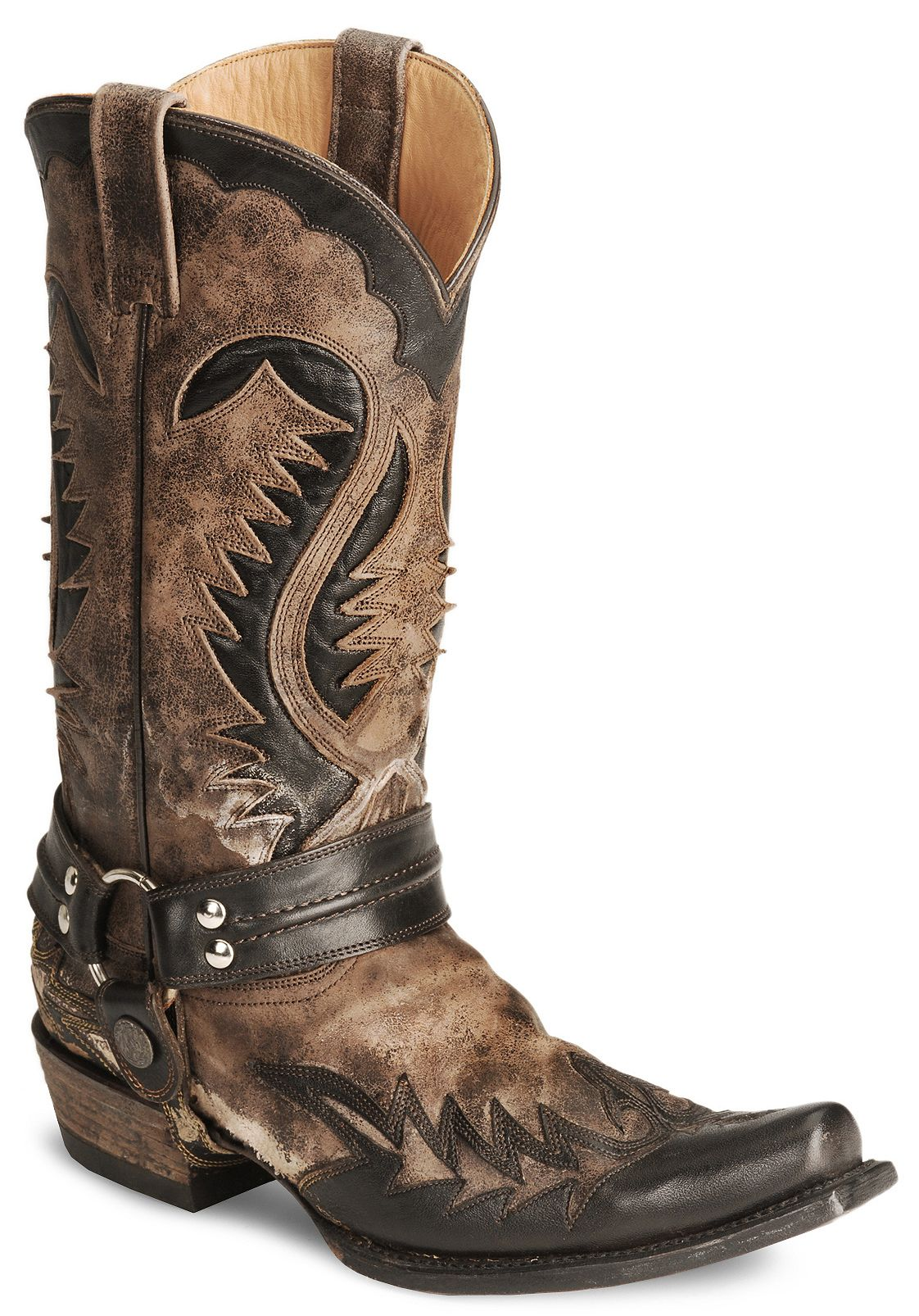 Stetson Brown Harness Cowboy Boots Snip Toe Sheplers