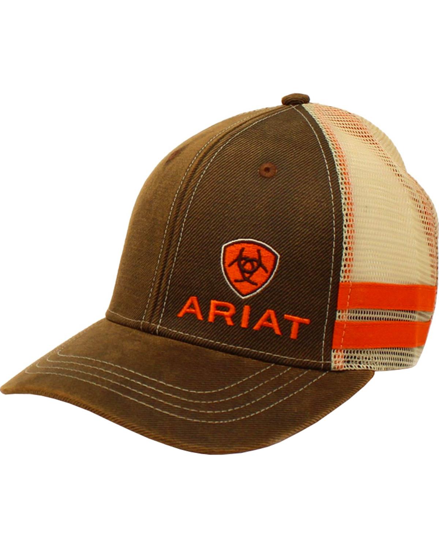 bb9c7f2b555 Ariat Men s Brown Side-Striped Baseball Cap