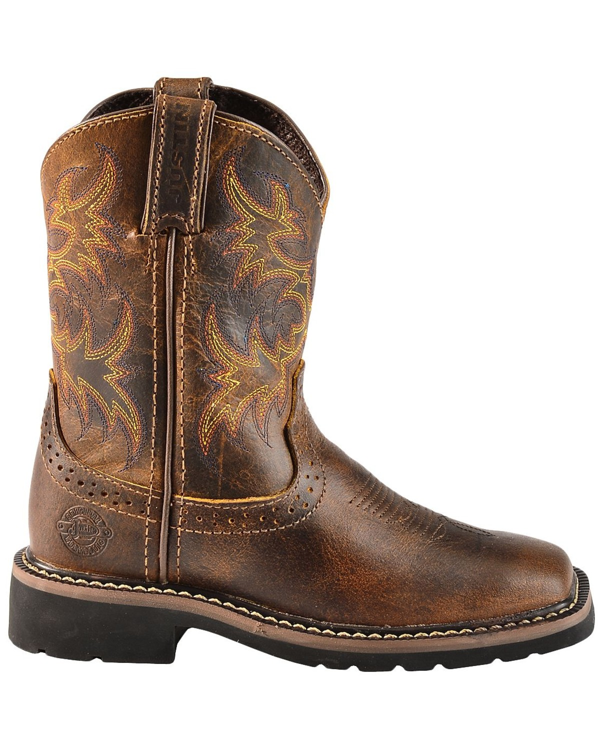 Justin Youth Boys Stampede Work Boots Square Toe Sheplers