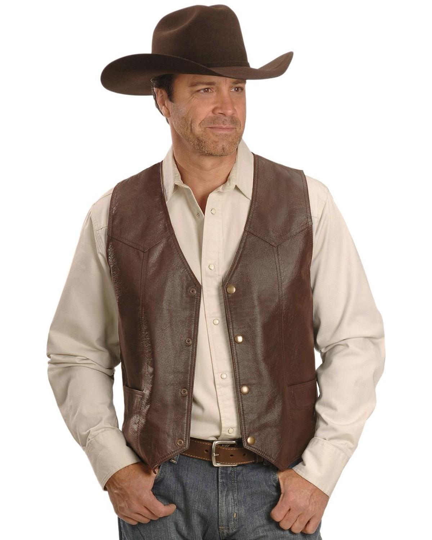 Vintage Leather Western Yoke Genuine Leather Vest Sheplers