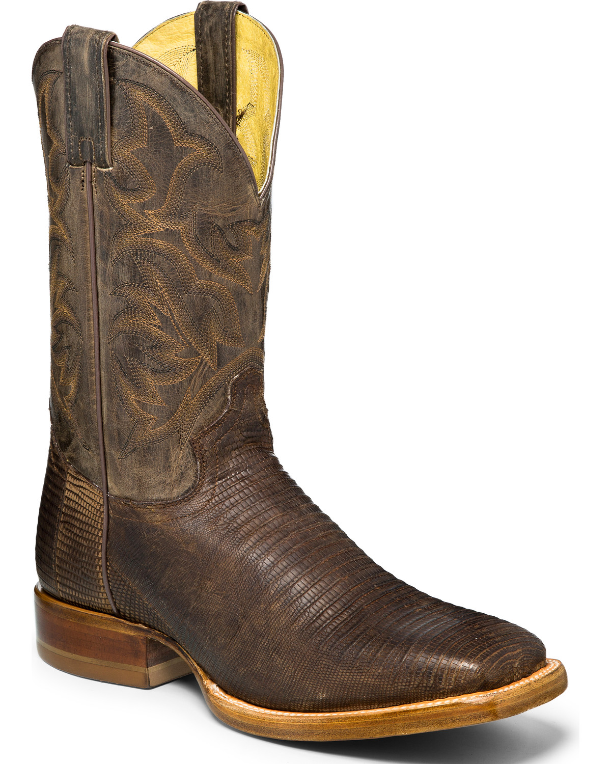 Justin Men S Brown Roadhouse Lizard Skin Boots Square