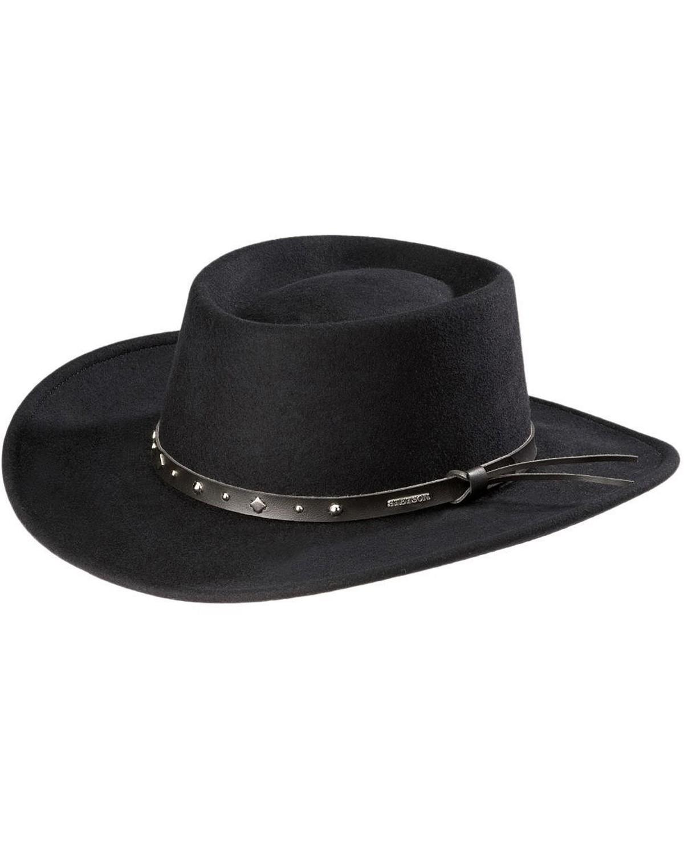 Stetson Black Hawk Crushable Wool Felt Gambler Hat  d87ec4a2f15