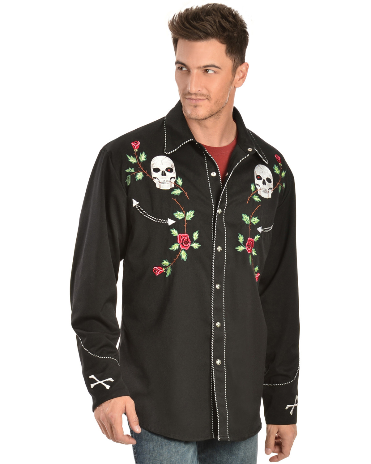 Scully Skull Amp Roses Embroidered Retro Western Shirt