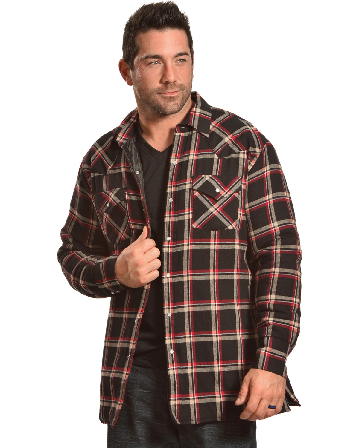 Ely Cattleman Men's Black Quilted Flannel Shirt Jacket - Tall ...
