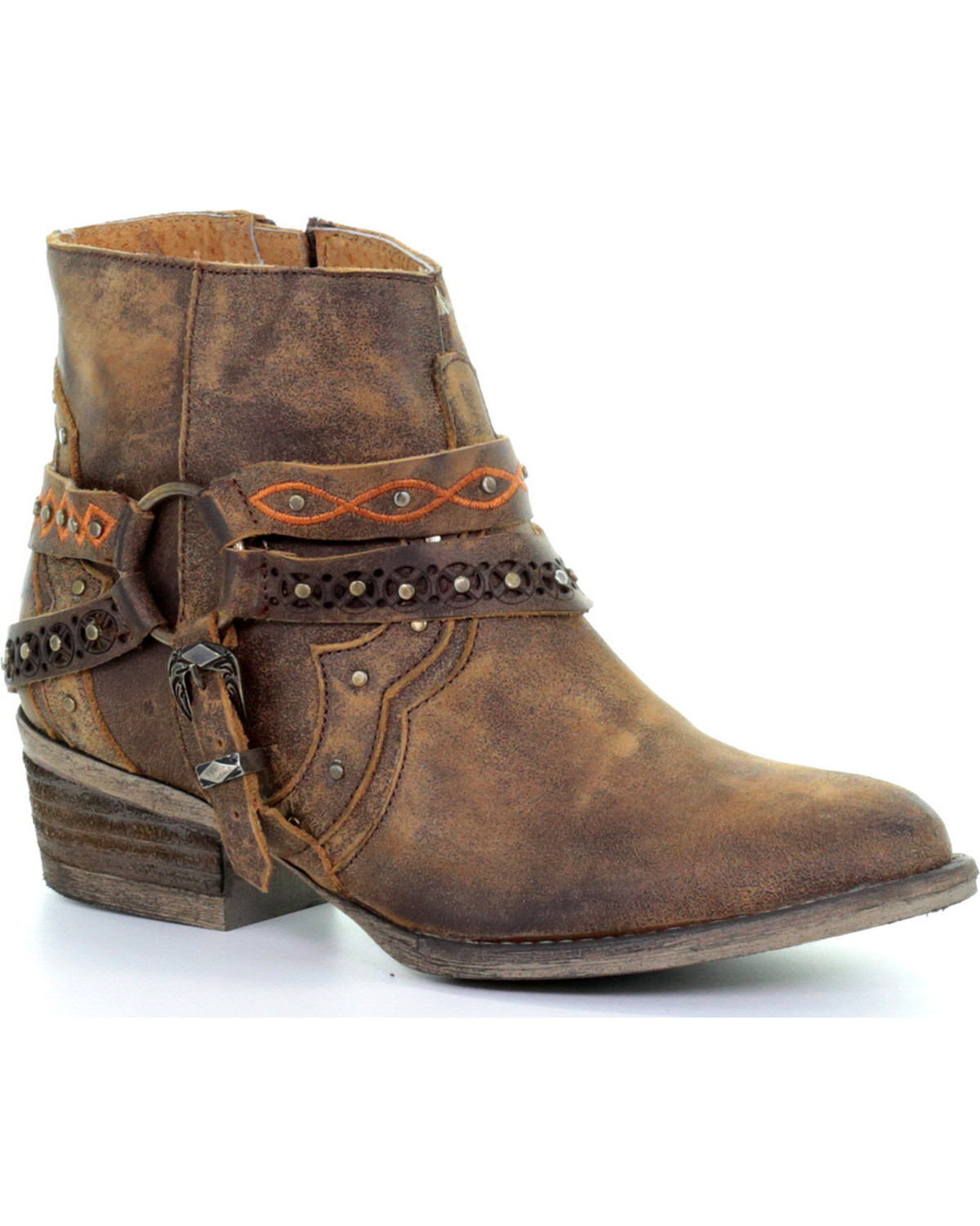 Circle G Women S Diamond Embroidered Cowgirl Boot Square: Circle G Women's Brown Studded Harness Ankle Boots