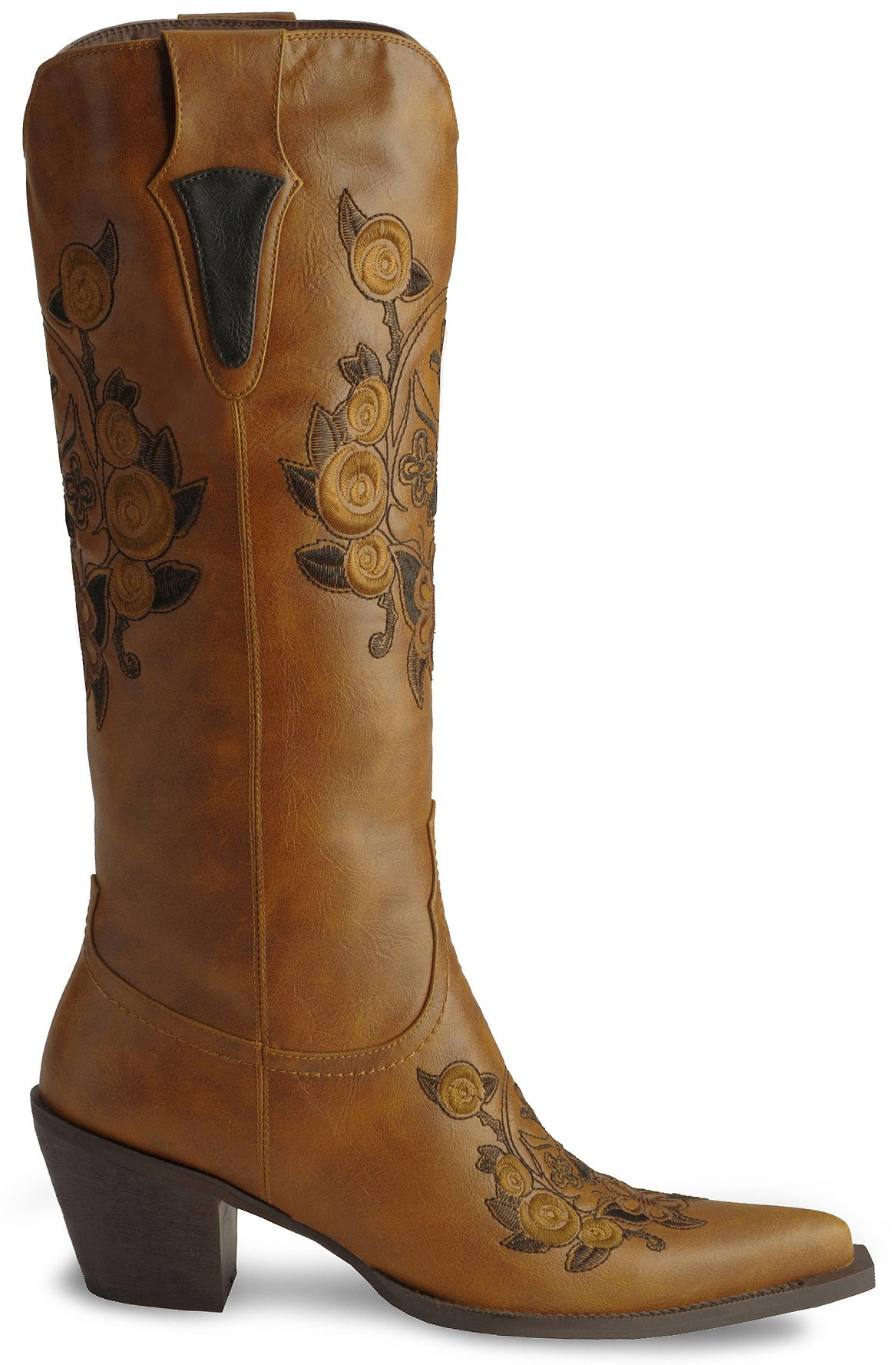 Roper Skull Amp Floral Embroidered Cowgirl Boots Pointed