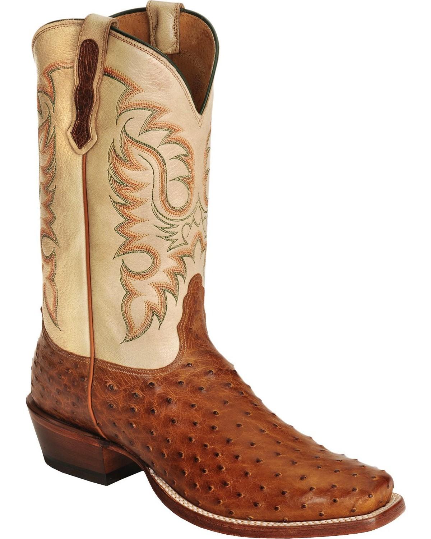 Nocona Men S Waxy Full Quilll Ostrich Cowboy Boots