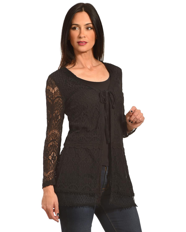 Young Essence Women's Black Lace Cardigan | Sheplers