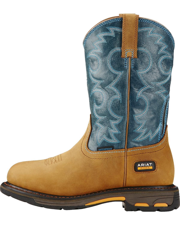 Ariat Women S Blue Workhog H2o Cowgirl Work Boots Round
