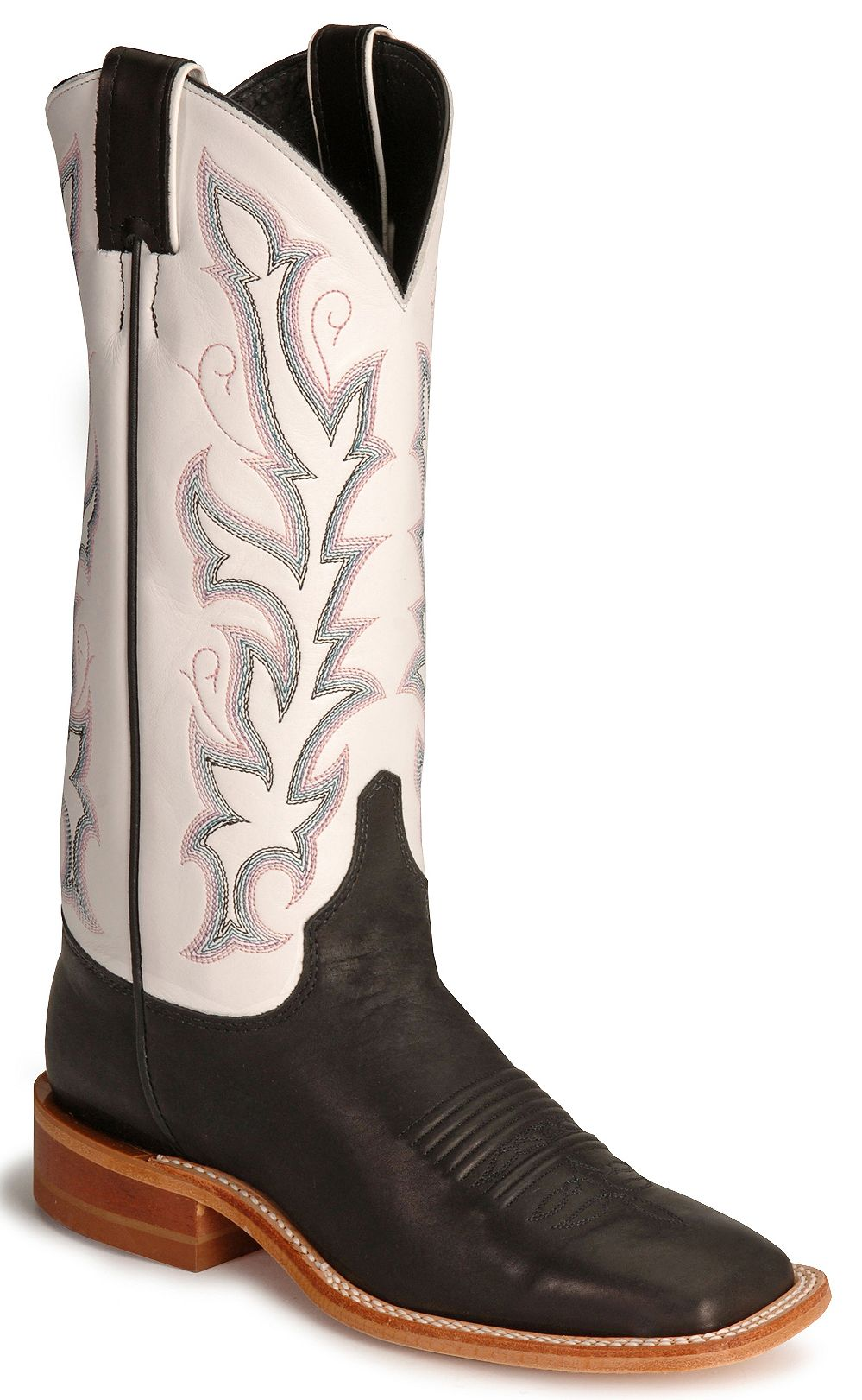 Justin Bent Rail Black Calf Cowboy Boot Square Toe