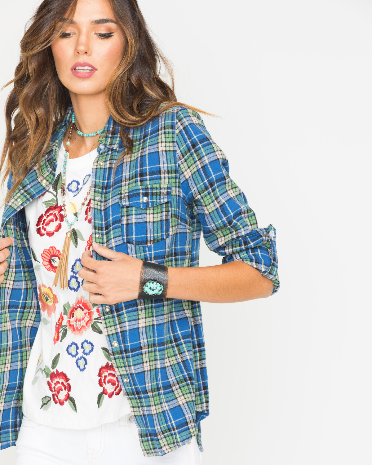 Bohemian cowgirl women 39 s blue rainbow skull flannel shirt for Girl in flannel shirt