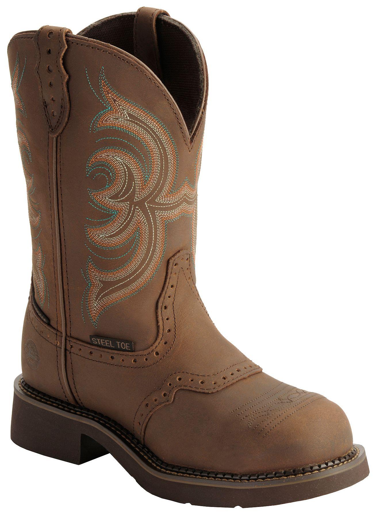 Justin Gypsy Waterproof Work Boots Round Steel Toe