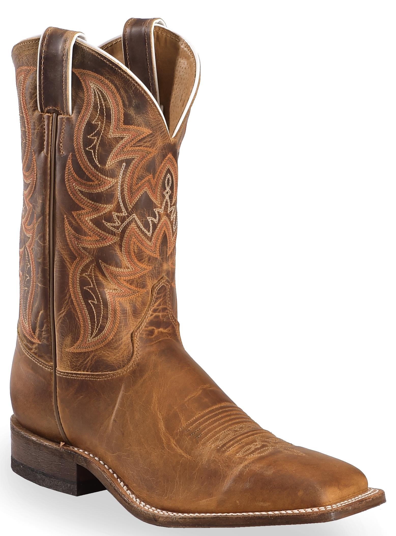 Justin Bent Rail Distressed Cognac Cowboy Boots Square
