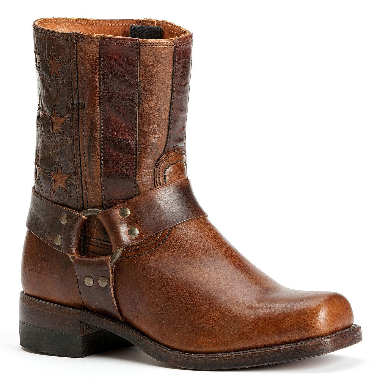 Frye Men S Harness Americana Short Boots Square Toe