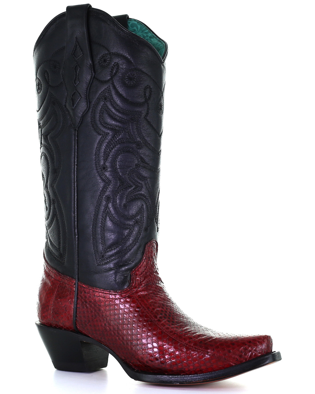 Details about  /Europe Women/'s Cowboy Snakeskin Pattern Block Heel Pointed Toe Knee High Boots L