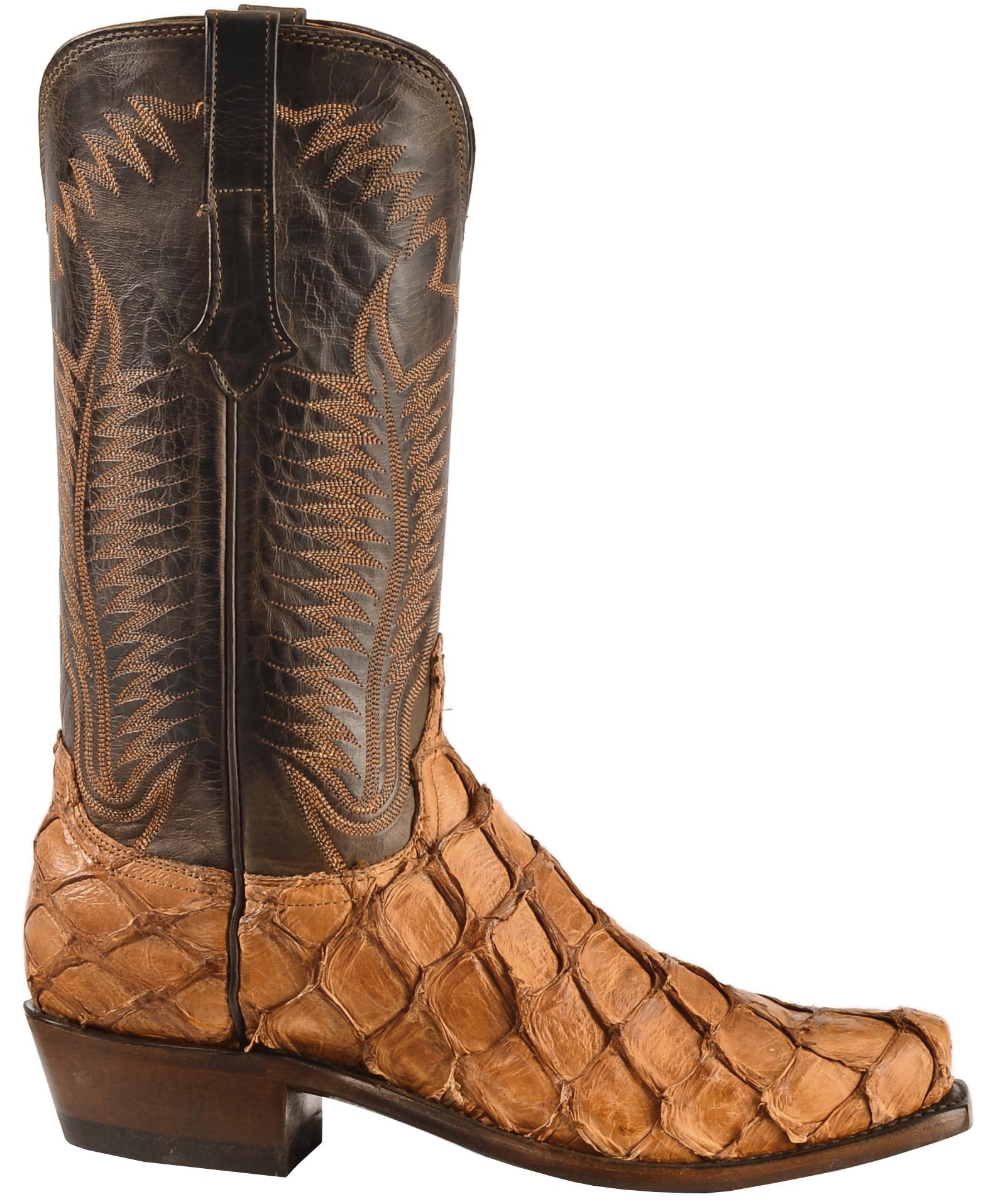 Lucchese handmade cognac murphy pirarucu cowboy boots for Pirarucu fish boots