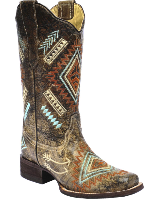 Corral Multicolored Diamond Embroidered Cowgirl Boots