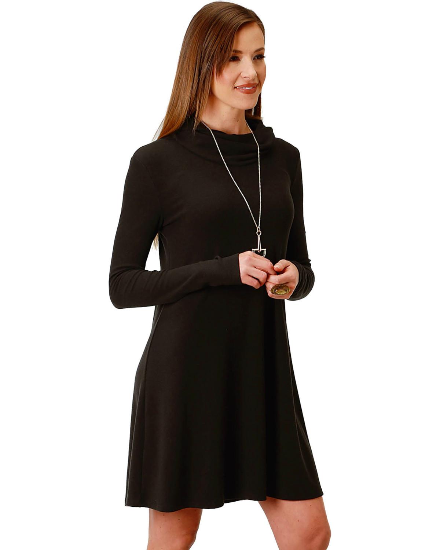 Cowl Dress: Roper Women's Black Cowl Neck Dress