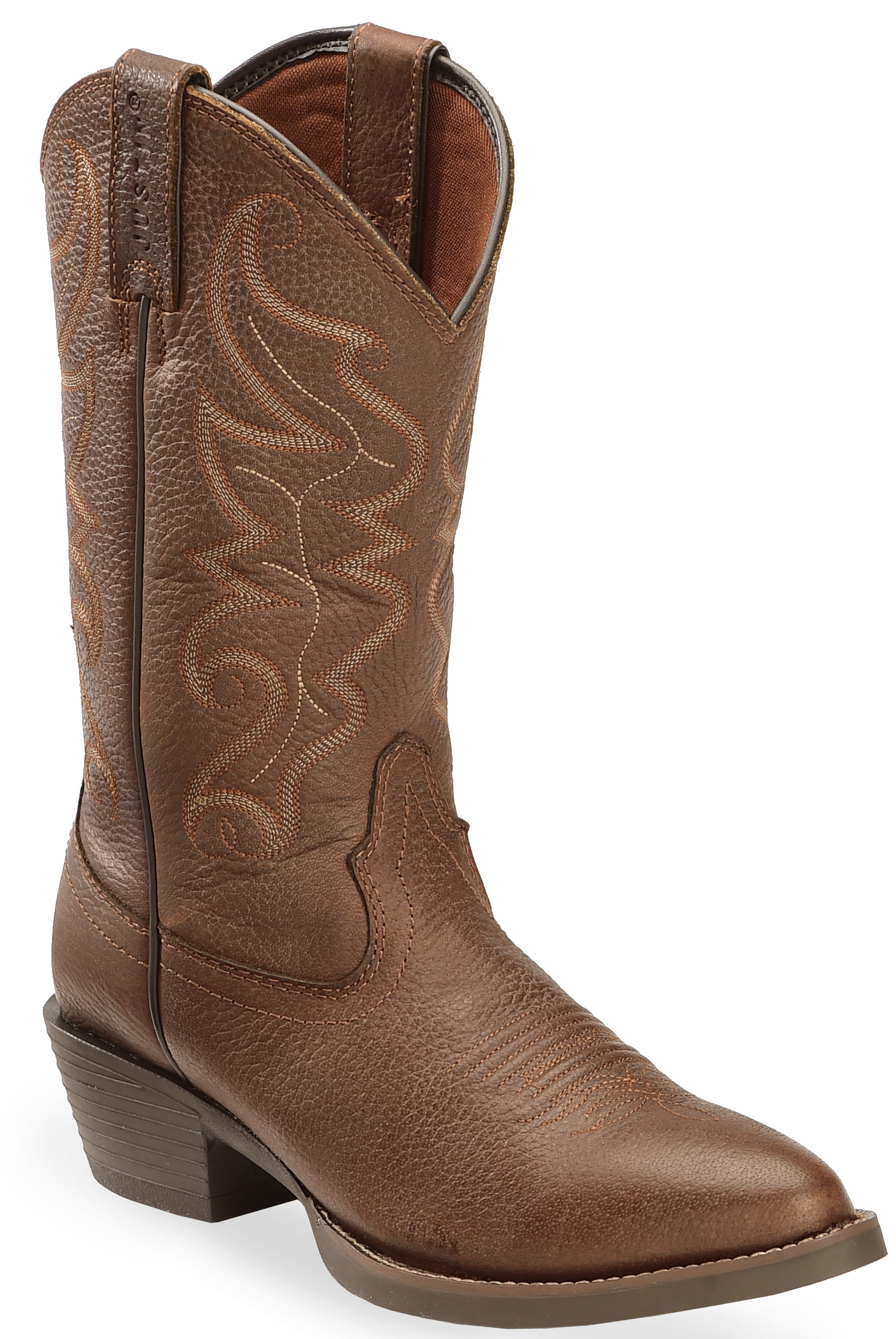 Justin Men S All Star Chocolate Western Boots Round Toe