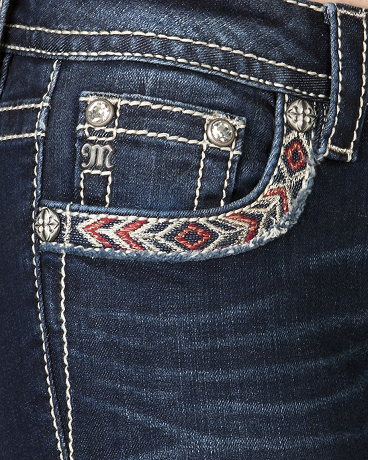 40f18ca56ee Miss Me Women s Mid-Rise Feather Embroidered Bootcut Jeans