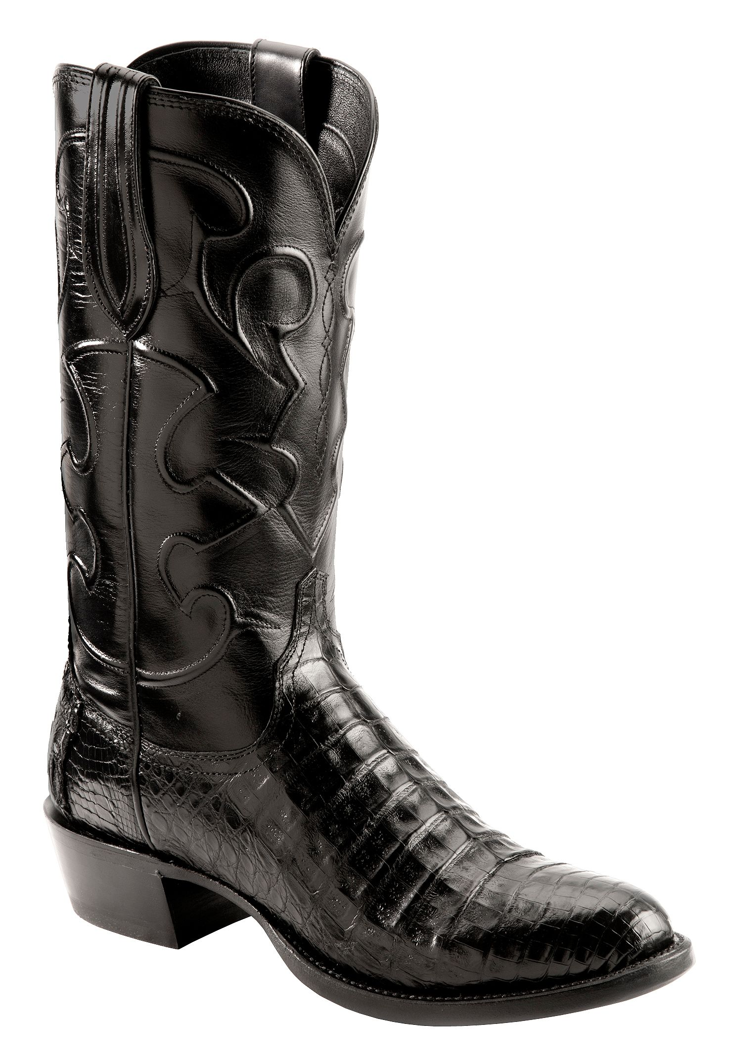 Lucchese Handmade 1883 Black Crocodile Belly Cowboy Boots