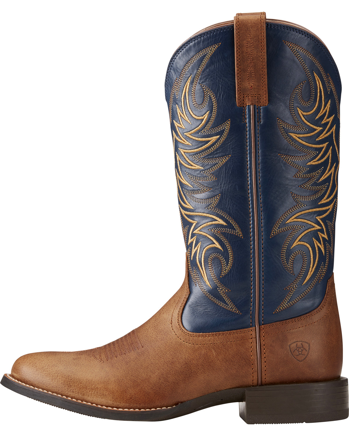 Amazing Price Online Free Shipping Amazon Ariat Sport Horseman Cowboy Boot(Men's) -Sandstorm/Solid Blue Full Grain Leather Cheap Sale Deals Discount From China Many Kinds Of Cheap Online MnCymBE