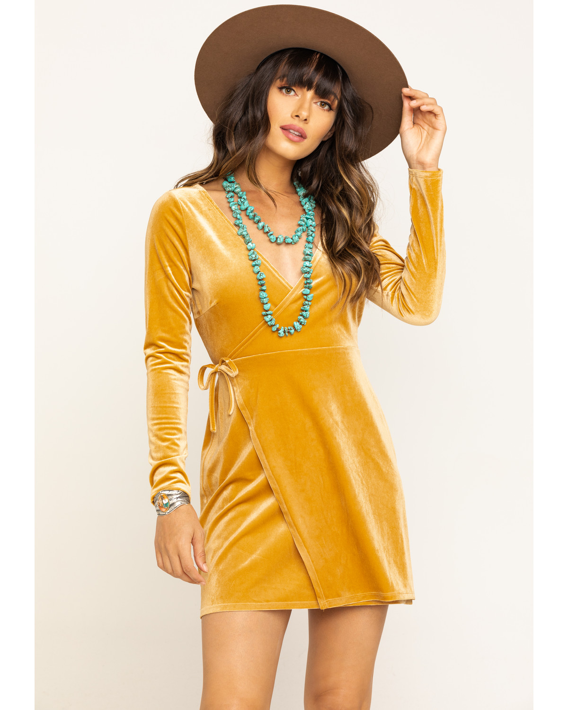 Shyanne Women S Mustard Velvet Long Sleeve Dress Sheplers