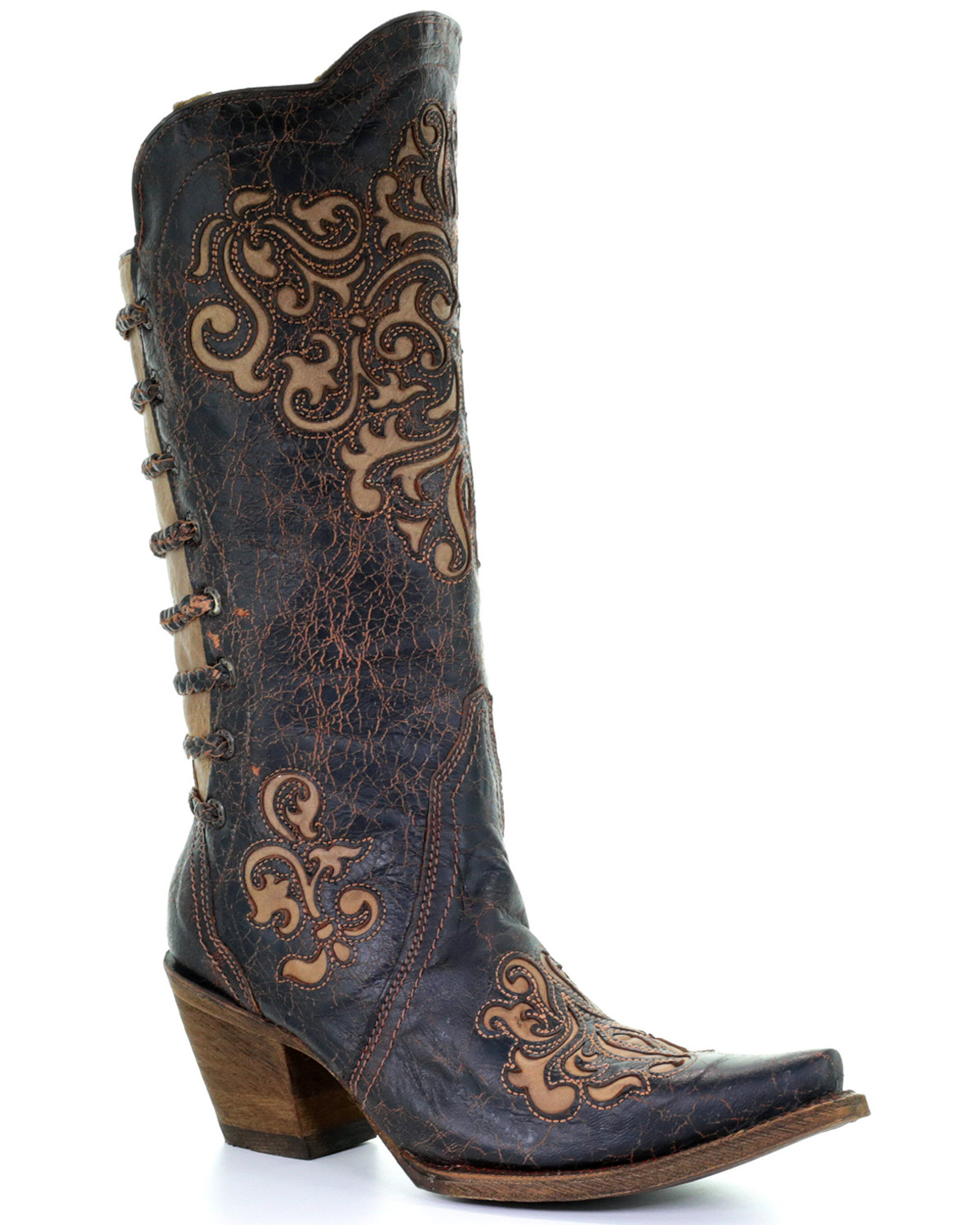 Corral Women S Inlay And Straps Cowgirl Boots Snip Toe